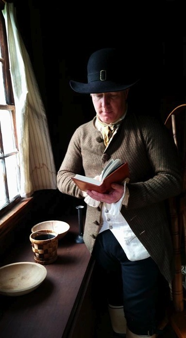 Dale Loberger reading his pocket 1733 NT